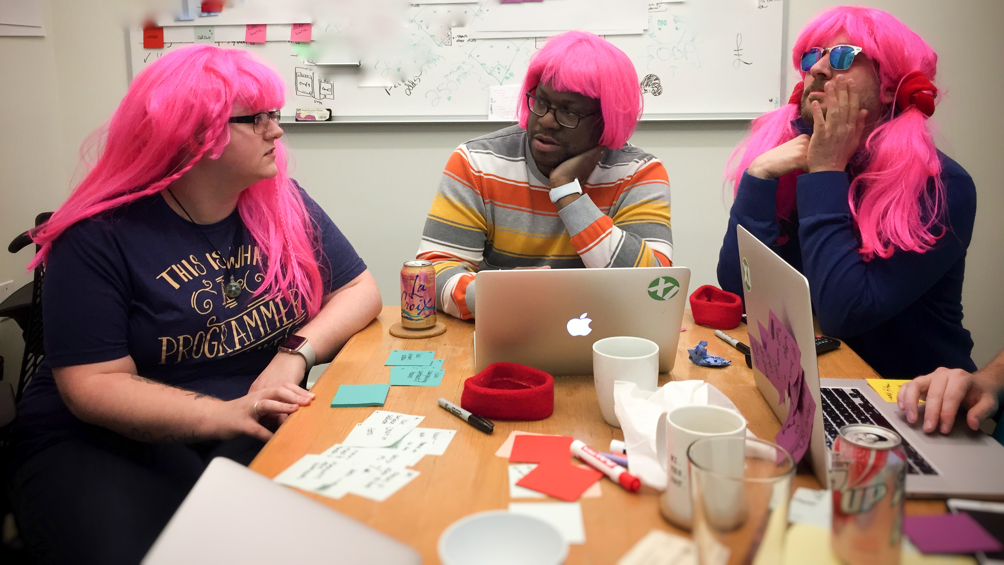 UX team wearing wigs